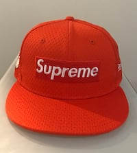 red and white Supreme fitted cap Jersey City, 07306