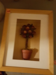 orange and green plant in pot painting
