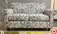 gray and white floral fabric sofa Mississauga