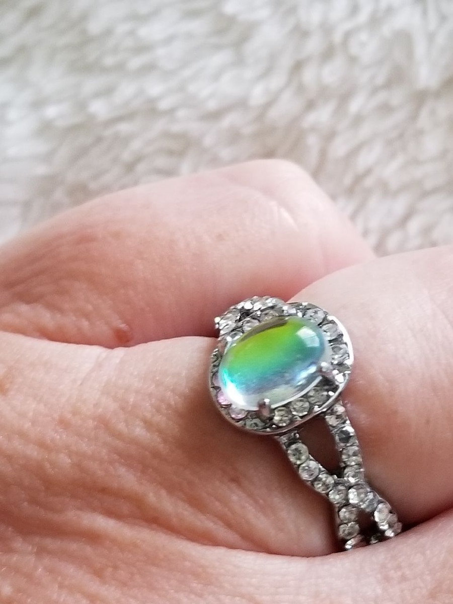 Photo Silver CZ and Fire Opal Ring Size 7