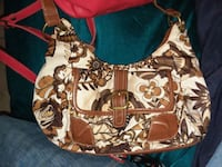 White and brown floral purse