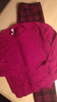 Magenta knit sweater & pants outfit Huntley, 60142