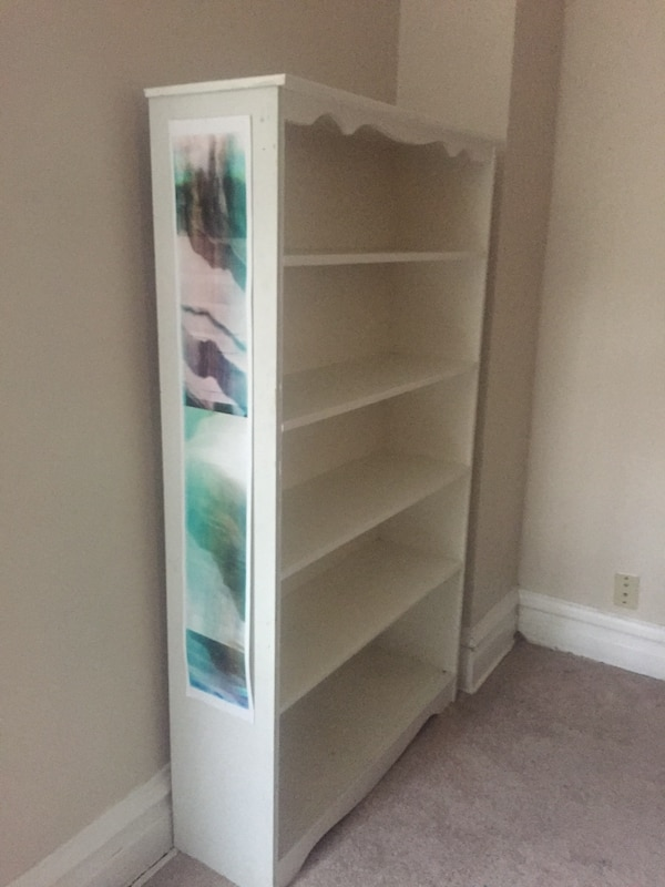 Used White Wooden Bookcase Well Built Quality Not Particleboard For In Chicago Letgo