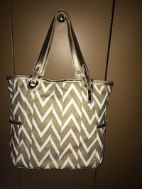 Lady's like new Cole Haan gold& white Canvas bag with leather trim Oakville, L6K 1Y8