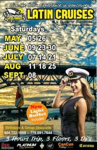 7 tickets for Sat 25 Salsa cruise Langley, V1M 2G7