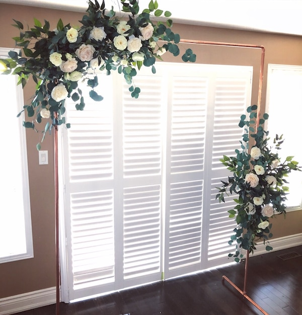 RENTAL- copper arch with silk flowers