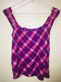 purple and pink plaid scoop neck sleeveless top Fairview, 17070