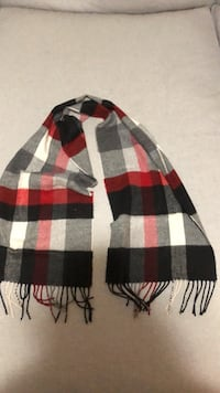 Red white black checked scarf
