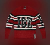 NWT! $400 *HILFIGER* (Tommy) men's XL Pullover Sweater Long Sleeve Shirt Red White Black Toronto