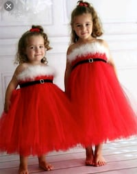 Girls red Christmas strapless tutu dress null
