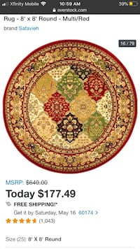 8' Round Red Rug. See description.