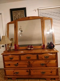 Soldi wood dresser with 7 drawers and big mirror.  Annandale, 22003