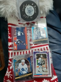 maple leafs 30 card lot,with signed puck of johnny bower Toronto