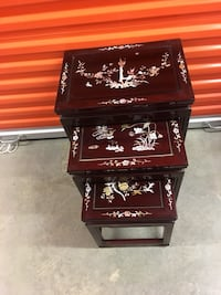 Chinese stacking tables Mother of Pearl, Rosewood. The price is firm . Large 22 inches high, 17 inches wide, medium table 18 inches high, 14 1/2 inches wide, small table 14 inches high, 11 1/2 wide . Alexandria, 22315