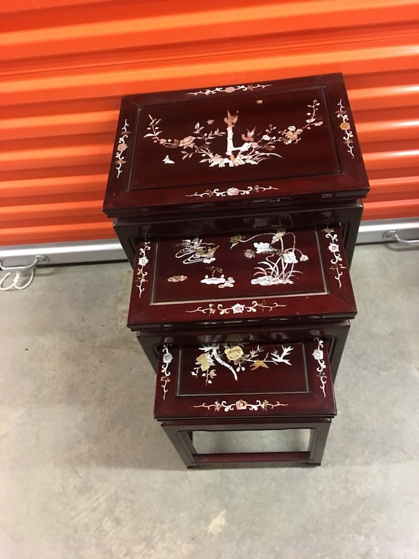 Chinese stacking tables Mother of Pearl, Rosewood. The price is firm . Large 22 inches high, 17 inches wide, medium table 18 inches high, 14 1/2 inches wide, small table 14 inches high, 11 1/2 wide . 79731efe-630b-492a-8eac-23c74a586cd9