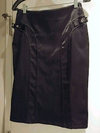 Black satin pencil skirt, size Small