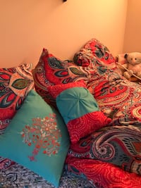 Beautiful coral/teal duvet accent pillows and small teal area rug!!! All like new!!!! Mount Dora, 32757