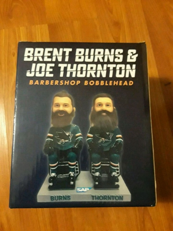 Brent Burns and Joe Thornton barbershop bobblehead box