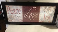Peace, Love & Joy quote with black wooden frame wall decoration