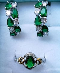 Sterling silver emerald ring and earrings