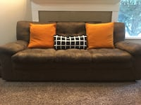 brown fabric 2-seat sofa with throw pillows REDMOND