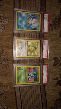 Five assorted pokemon trading cards Los Angeles, 90731
