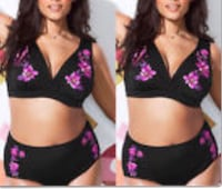 New Women's black and pink floral bikini 2x  Vaughan, L4L 1S2