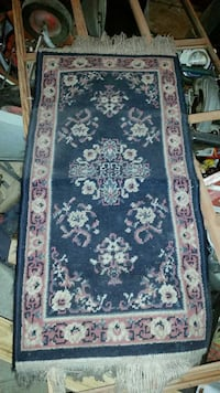 blue and brown textile rug made in USA