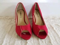 pair of red peep-toe heeled shoes San Francisco, 94117