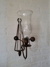 Brushed bronze metal & hurricane etched glass candle holder sconce