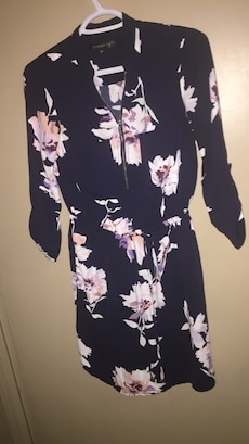 black and white floral long sleeve mini dress