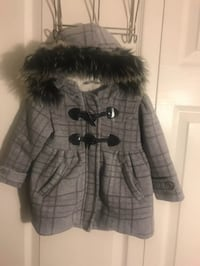 Me jane baby girls gray & black plaid hooded coat size 12m(pick up only) Alexandria, 22310