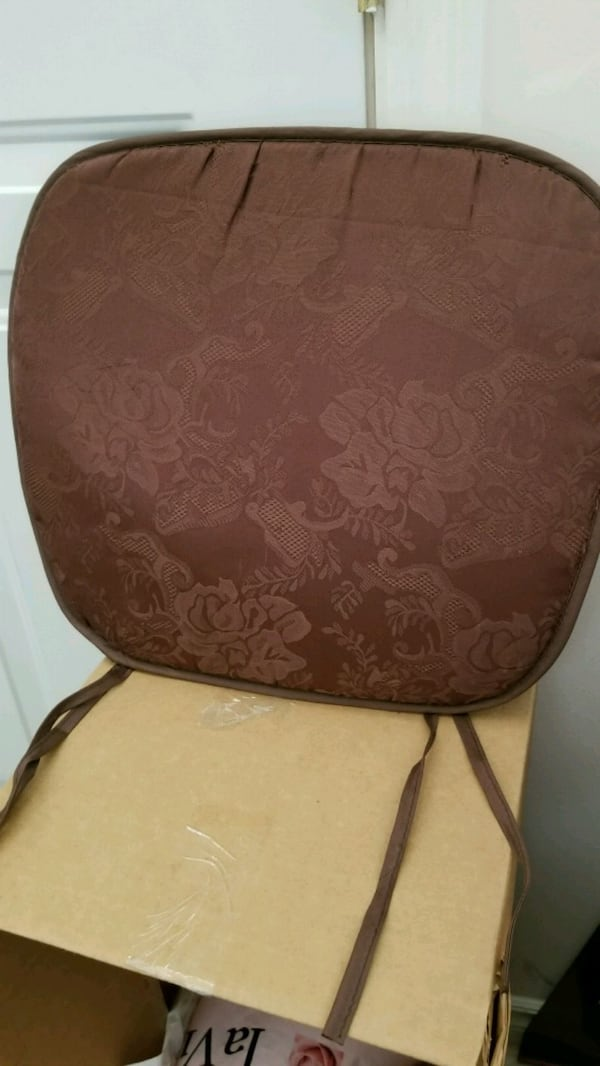 "Brown chair cushions, about 14"" square.  Not super t hick  5aaeca50-b506-4f13-8620-3f732ce0d720"