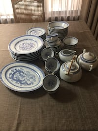 46 piece set blue and white translucent rice grain/ dragon Chinaware  Whitehouse, 75791