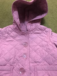 toddler's quilted purple button-up hoodie