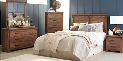 King wood finish bedroom set