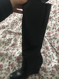 Black leather wedge knee-high boots Toronto, M6A 2K5