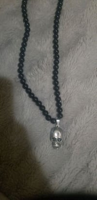 Skull black beaded necklace