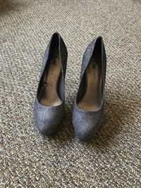 pair of gray suede platform stilettos Ames, 50010