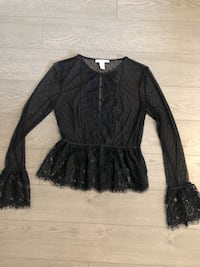 Forever 21 Sheer Black Lace Peplum Blouse Small