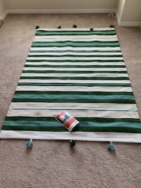 Brand New Teal Green Striped Tasseled Woven Rug 5' x 7' - Opalhouse