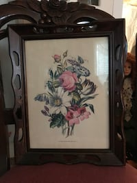 Beautiful Vintage Victorian Flower Picture in wooden frame Gainesville, 20155