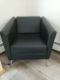 Black Leather and Chrome Legs Chair