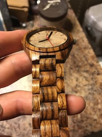 Handcrafted Zebrawood with olive face real wood watch