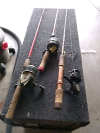 Vintage fishing reels and pods