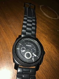round black Fossil chronograph watch with link bra Saint Charles, 63303