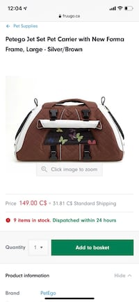 Dog carrier airline approved Toronto, M3M 0B3