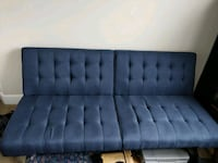 tufted gray suede futon sofa Sterling, 20166