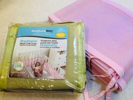 Breathable Baby Classic Mesh Crib Liners (Pink or Green)