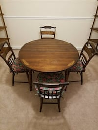 Antique Genuine L. Hitchcock 5 pc Dining Set With Plank Chairs Vienna